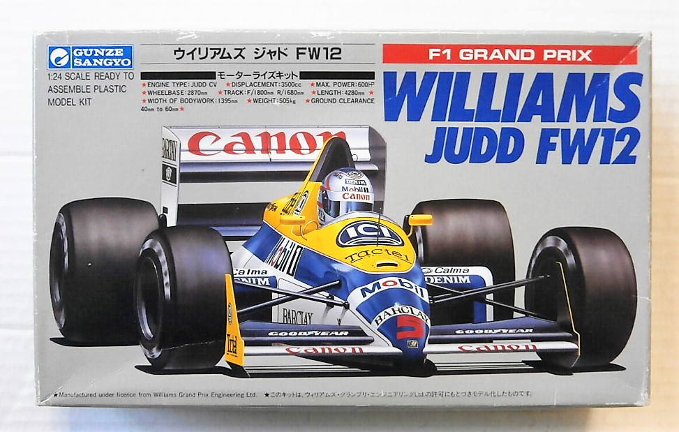 GUNZE SANGYO 1/24 G480 F1 WILLIAMS JUDD FW12 Model Kit