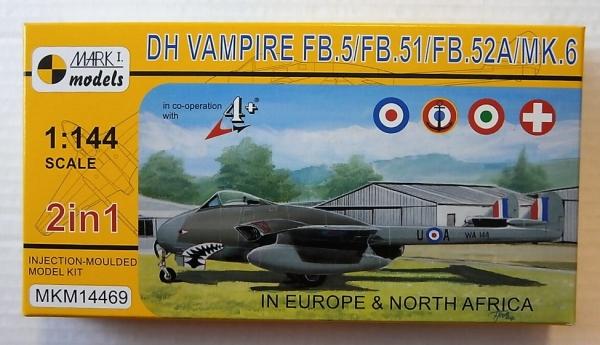 Mark I 2 IN 1 DH Vampire FB.5//FB.51//FB.52A//MK.6 1:144 Plastik NEU