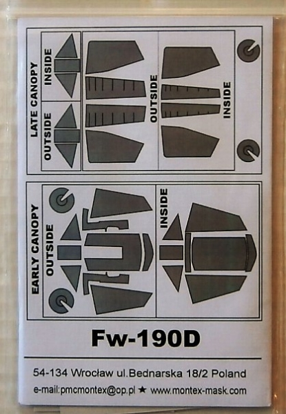 32004 FOCKE WULF Fw 190D-9  EXTERIOR   INTERIOR  CANOPY MASKS FOR HASEGAWA
