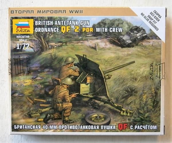 Zvezda 1//72 British Anti-Tank Gun Ordnance QF 2 PDR with crew # 6169