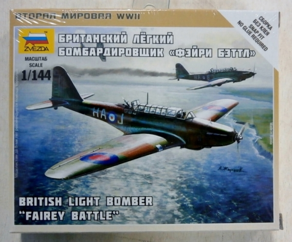 British Light Bomber Fairey Battle Plastic Kit 1:144 Model ZVEZDA