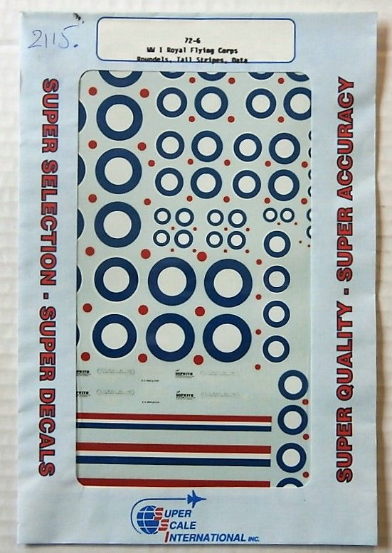 2115. 72-6 WW I ROYAL FLYING CORPS ROUNDELS/TAIL STRIPES/DATA
