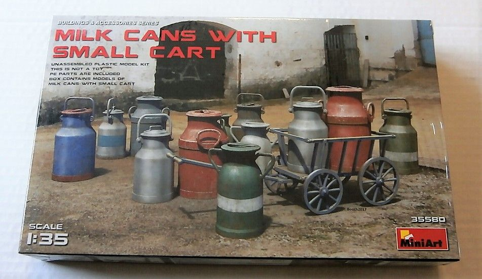 35580 MILK CANS WITH SMALL CART
