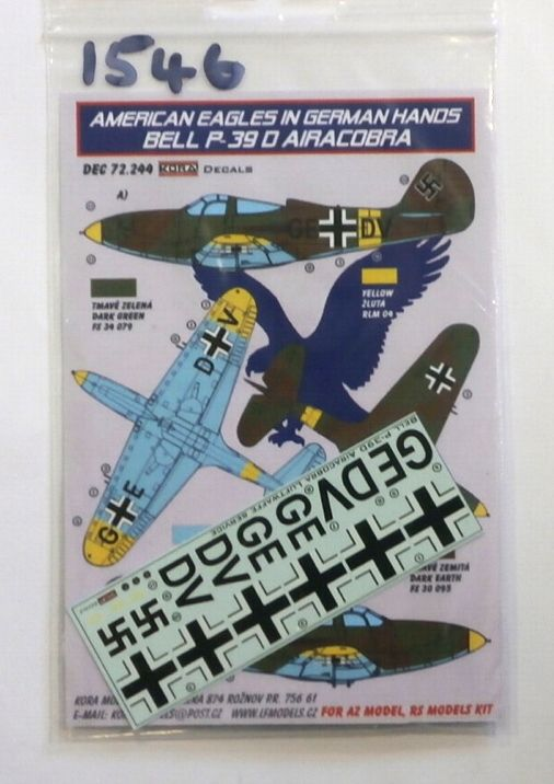 1546. 72.244 AMERICAN EAGLES IN GERMAN HANDS BELL P-39D AIRACOBRA