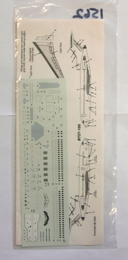 1562. AVIGRAPHICS AG2092 BOEING 727 DETAIL DECAL