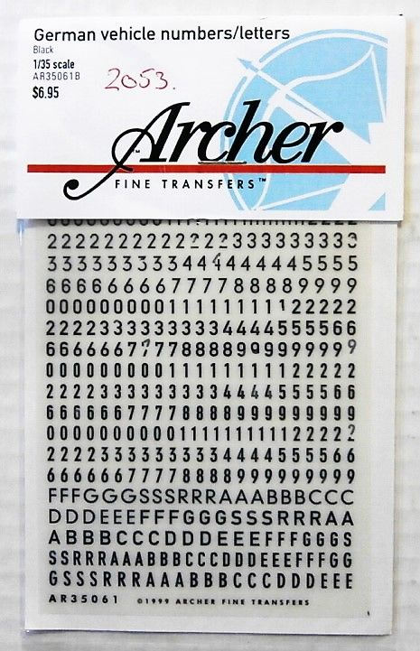 2053. ARCHER FINE TRANSFERS AR35061B GERMAN VEHICLE NUMBERS AND LETTERS