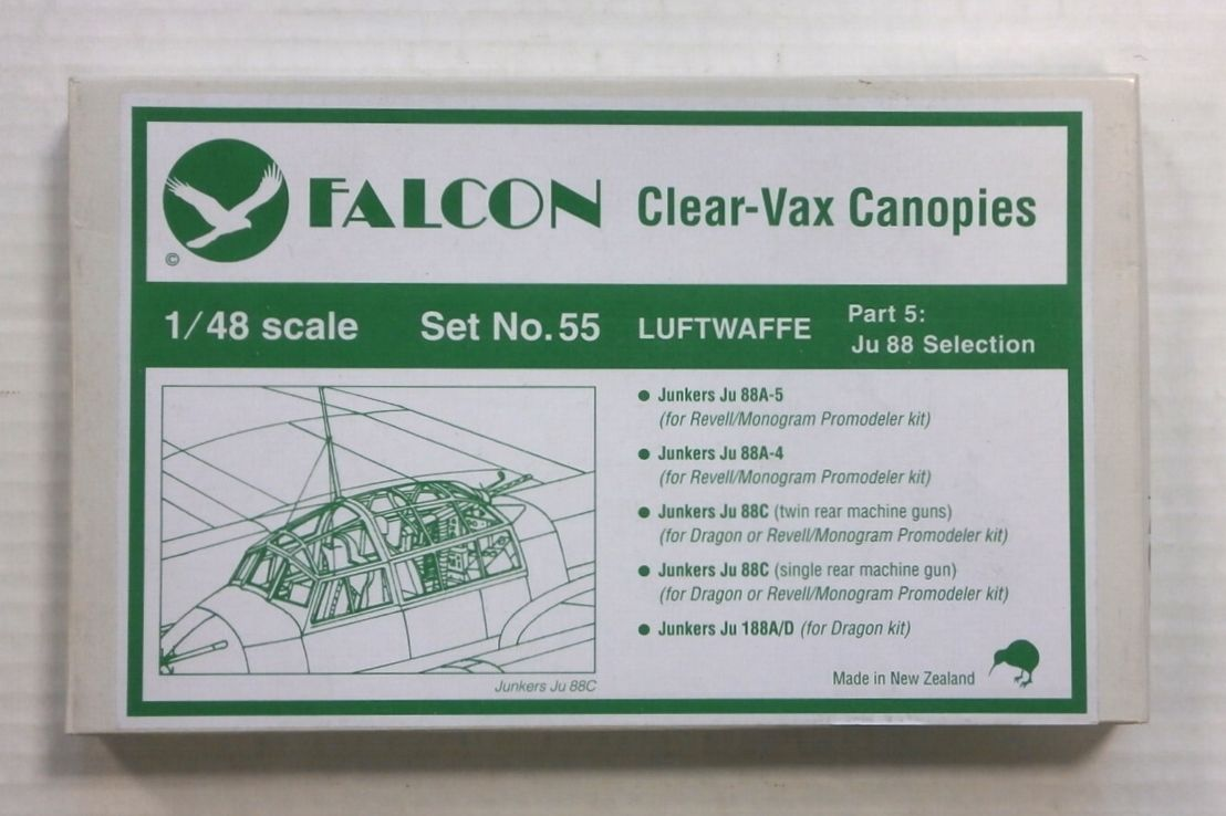 CLEAR-VAX CANOPIES SET NO. 55 LUFTWAFFE PART 5 Ju 88 SELECTION