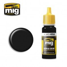 AMMO BY MIG JIMENEZ  0032 SATIN BLACK 17ml ACRYLIC PAINT FOR BRUSH   AIRBRUSH