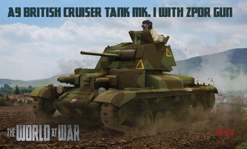 IBG MODELS WORLD AT WAR 1/72 011 A9 BRITISH CRUISERE TANK MK.I WITH ZPDR GUN