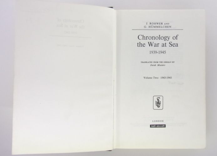 CHEAP BOOKS  ZB3082 CHRONOLOGY OF THE WAR AT SEA 1939-1945 VOL TWO - J. ROHWER