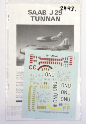 DISCOUNT DECALS 1/72 2473. SPECIAL TRYCK 606 SAAB J 29 TUNNAN
