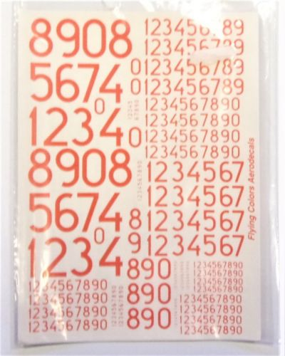 FLYING COLOURS  2480. 72005 MODERN SWEDISH NUMERALS 100mm - 1500mm DAYGLO RED