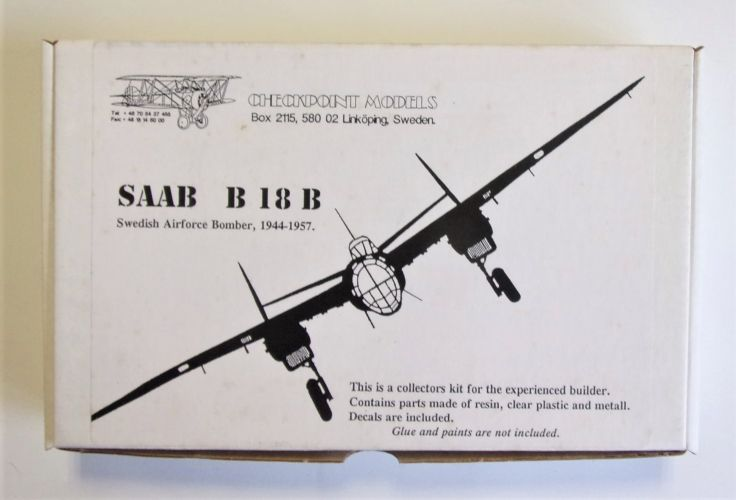 CHECKPOINT MODELS 1/72 SAAB B 18 B SWEDISH AIRFORCE BOMBER 1944-1957