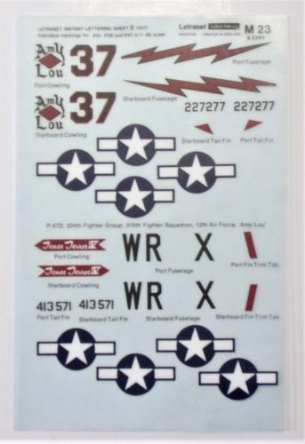 1/48 2397. BLICK M23 - P51 P38 AND P47 MARKINGS
