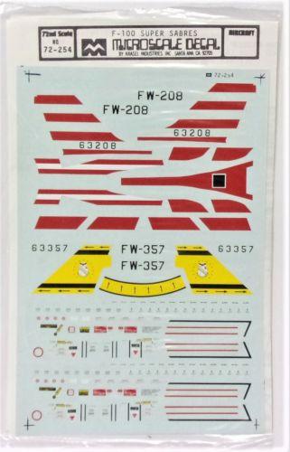 MICROSCALE 1/72 2405. 72254 F-100 SUPER SABRES