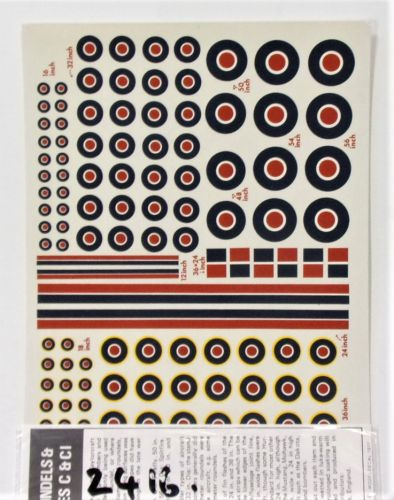 MODELDECAL 1/72 2416. 41 WW2 BRITISH ROUNDELS AND FIN FLASHES TYPES C AND CI