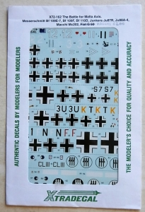 XTRADECAL 1/72 549. X72-162 THE BATTLE FOR MALTA AXIS