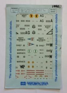MICROSCALE 1/72 1440. 720078 A-4 C/E NAVY   MARINES VA-64   USF-1 OF U.S.S. INDEPENDENCE VMA-224 VMA-121 VMA-223