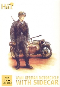 HAT INDUSTRIES 1/72 8126 WWII GERMAN MOTORCYCLE   SIDE CAR