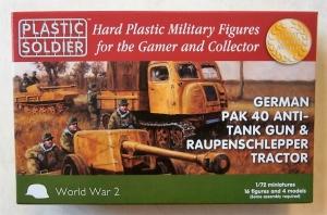 PLASTIC SOLDIER 1/72 WW2G20005 GERMAN PAK 40 ANTI-TANK GUN   RAUPEN-SCHLEPPER TRACTOR