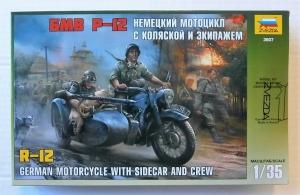 ZVEZDA 1/35 3607 GERMAN R-12 MOTORCYCLE   CREW