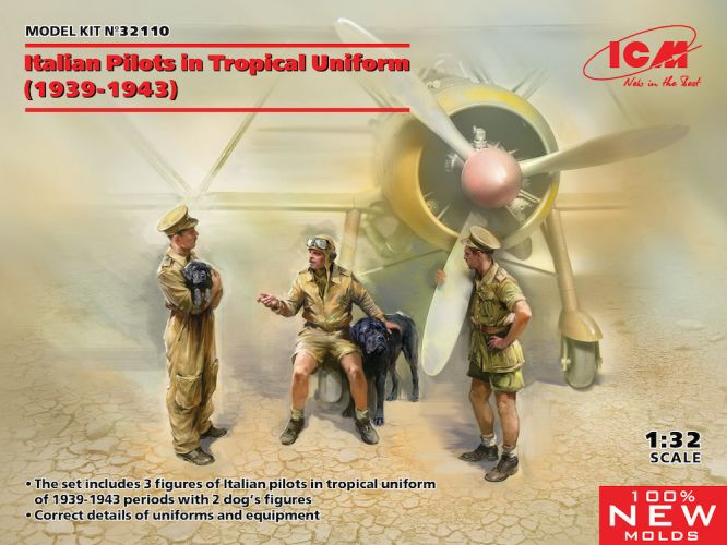 ICM 1/32 32110 ITALIAN PILOTS IN TROPICAL UNIFORM  1939-1943