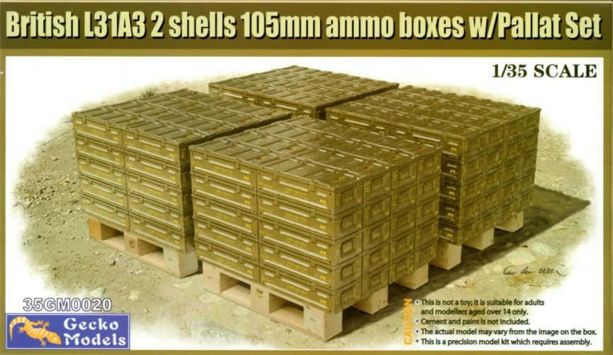 GECKO MODELS 1/35 350020 BRITISH L31A3 2 SHELLS 105MM AMMO BOXES WITH PALLET SET