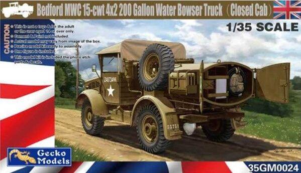GECKO MODELS 1/35 350024 BEDFORD MWC 15-CWT 4X2 200 GALLON WTAER BOWSER TRUCK  CLOSED CAB