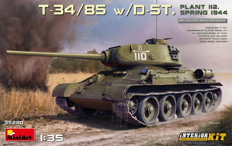 MINIART 1/35 35290 T-34/85 WITH D-5T PLANT 112 SPRING 1944