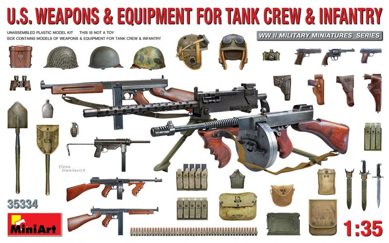 MINIART 1/35 35334 U.S. WEAPONS   EQUIPMENT FOR TANK CREW   INFANTRY