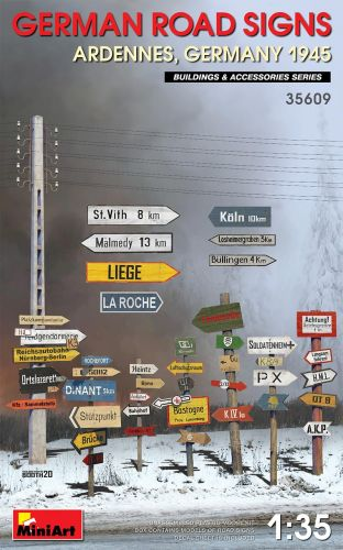 MINIART 1/35 35609 GERMAN ROAD SIGNS ARDENNES GERMANY 1945