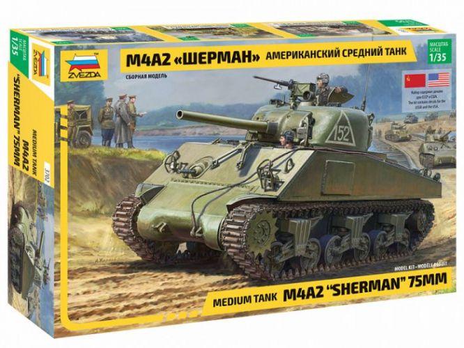 ZVEZDA 1/35 3702 M4A2 SHERMAN 75MM