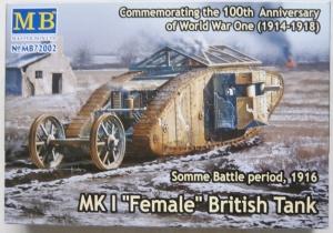 MASTERBOX 1/72 72002 Mk.I FEMALE BRITISH TANK SOMME BATTLE PERIOD