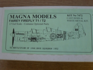 MAGNA 1/72 7472 FAIREY FIREFLY T1/T2