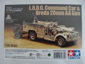 TAMIYA 1/35 89785 L.R.D.G. COMMAND CAR   BREDA 20mm AA GUN