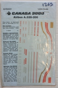 AIRLINE HOBBY SUPPLIES 1/200 1265. 2031 CANADA 3000 AIRBUS A.320-200