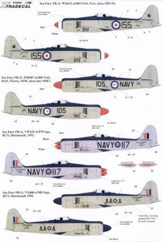XTRADECAL 1/48 48061 Hawker Sea Fury FB.11
