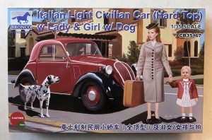 BRONCO 1/35 35167 ITALIAN LIGHT CIVILIAN CAR  HARD TOP  WITH LADY   GIRL   DOG
