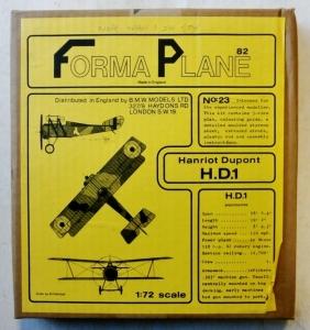 FORMAPLANE 1/72 23 HANRIOT DUPONT H.D.1