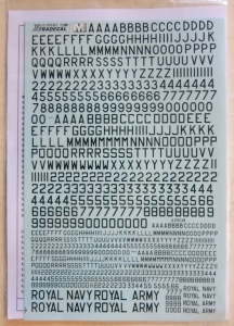 XTRADECAL 1/32 32021 RAF SERIAL LETTERS   NUMBERS BLACK