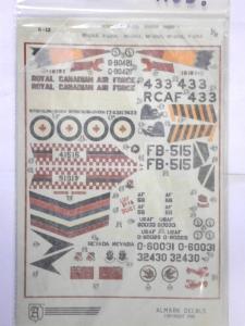 ALMARK 1/72 1163. 4821 MCDONNELL VOODOO SHEET 1 F-101 VOODOO. F-101A F-101B CF-101B RF-101A/C RF-101H