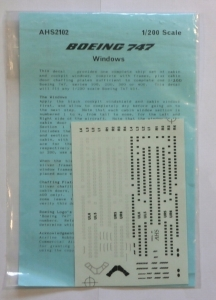 AIRLINE HOBBY SUPPLIES 1/200 1472. BOEING 747 WINDOWS