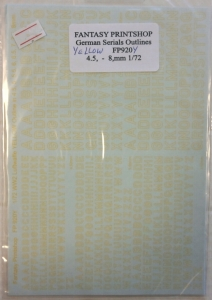 0 1/72 1254. GERMAN SERIALS OUTLINES YELLOW 4.5 - 8mm