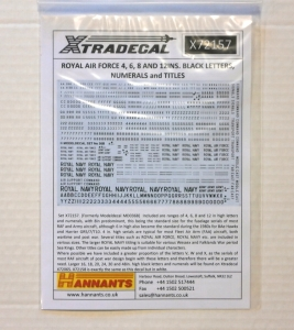 XTRADECAL 1/72 72157 RAF 4 6 8 AND 12 INS BLACK LETTERS NUMERALS AND TITLES