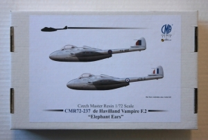 CZECH MASTER RESIN 1/72 237 de HAVILLAND VAMPIRE F.2 ELEPHANT EARS