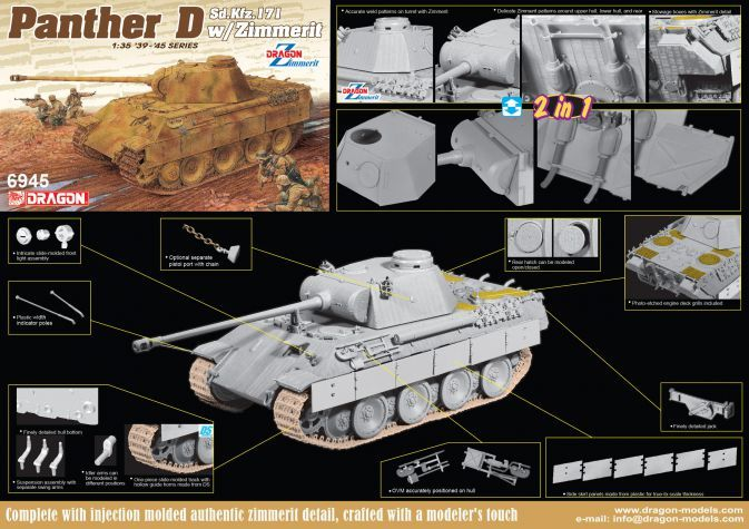 DRAGON 1/35 6945 SD.KFZ.171 PANTHER D WITH ZIMMERIT