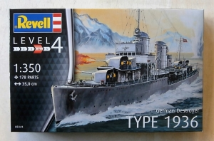 REVELL 1/350 05141 GERMAN DESTROYER TYPE 1936