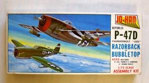 JOHAN 1/72 A-102 REPUBLIC P-47D JUG THUNDERBOLT RAZORBACK OR BUBBLETOP