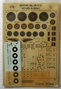 ALMARK 1/72 916. SPITFIRE MK. VIII AND IX SHEET C9 VICTORY IN SIGHT