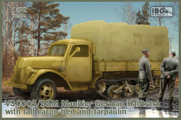IBG MODELS 1/72 72074 V3000S/SSM MAULTIER GERMAN HALFTRACK WITH TALL CARGO BED AND TARPAULIN